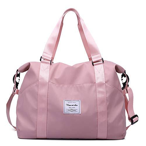 Women's Travel Duffle Bags, Tote Crossbody Bag Ladies Oxford Waterproof Gym Bag Weekend Overnight Carry on Shoulder Tote Bag Holdall Luggage Bags (L, Pink)