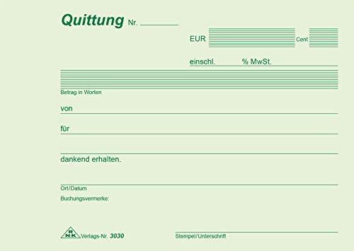 RNK 3030 - Quittung, Block mit 50 Blatt mit Durchschreibepapier, DIN A6 quer