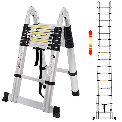 5M Teleskopleiter Alu Leiter Ausziehbare Klappleiter 2.5M + 2.5M Teleskop Leiter mit Stabilisator, Hohe Mehrzweckleiter, 150 kg Belastbarkeit