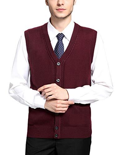 LuckyBov Men Solid V-Neck Vest Sleeveless Button Front Cardigan Sweater Wool WineRed Medium