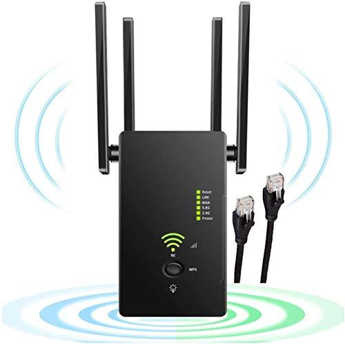 Repetidor WiFi 1200Mbps Amplificador Señal WiFi Banda Dual 2.4GHz y 5GHz Extensor de Red WiFi Enrutador Inalámbrico Punto Acceso con Ap Repeater Router Modos, 4 Antenas,, 2 Puerto LAN WAN, WPS
