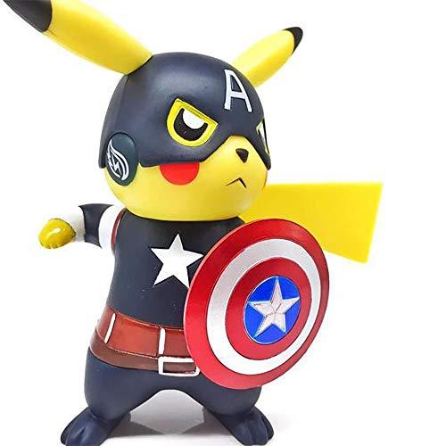 YXCC Hada/Deadpool/Capitn Amrica/Pikachu Estatua del Guerrero Negro Pokemon COS Naruto Estatua en Caja Decoracin Pokmon
