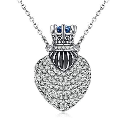 CELESTIA Plata de Ley 925 Circonita Corazón Medallón Corona Colgante Collar para Mujer Niñas, Joyeria, Aniversario/Día de la Madre/Día de San Valentín Regalo, Corona Tu Amor, 46CM Cadena