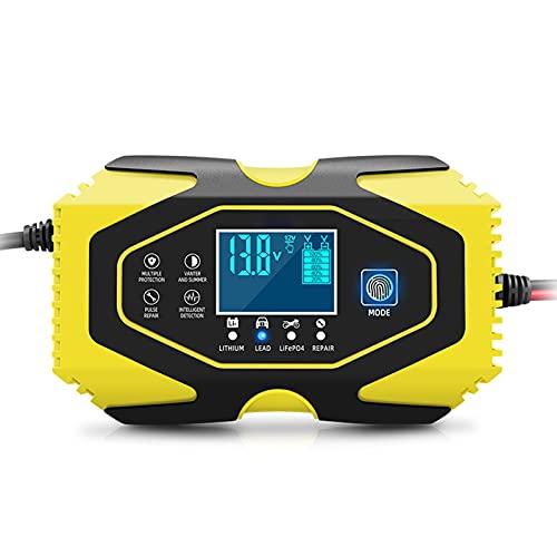 Cargador de Batería para Coche con Parada Automática de Potencia Completa, 12V / 24V 2ah-150ah Batería de Plomo ácido AGM Gel y Litio LiFePO4 Reparación de Batería, Función de Carga de 7 Etapas