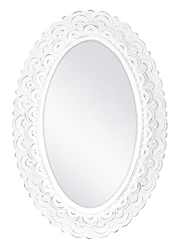 MCS Scalloped Province Oval Wall Mirror, 19x28 Inch Overall Size, Antique White