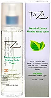 Premium Taza Natural Botanical Firming Facial Toner, 8 oz ♦ Firmer and Refined Skin ♦ With: Tamarind Seed Extract, Chamomile Extract, Aloe Leaf Juice, Cucumber Extract, Japanese Green Tea Extract