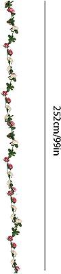 Guirlande de fleurs artificielles en soie - 3 pièces de 45 têtes de rose vigne - Guirlande de mariage pour maison, hôtel, bureau, fête, jardin, artisanat d'art (rose, orange, blanc et bleu)