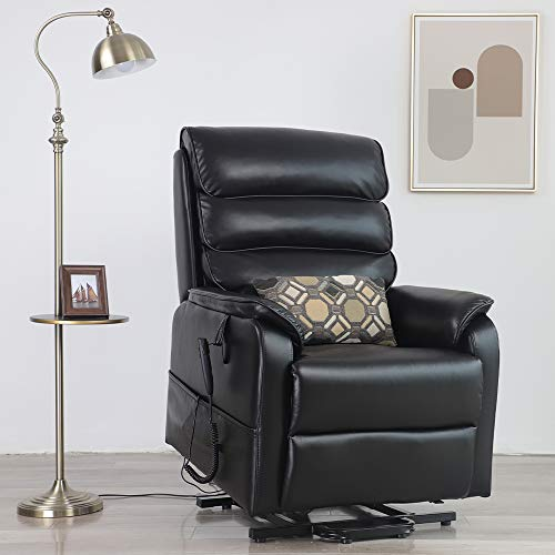 Irene House Dual Motor Lift Chair Recliners for Elderly Infinite Position Lay Flat Recliner Up to 300 LBS Soft Breath Leather Electric Power Lift Recliner Chair Sofa with Side Pocket (Black Leather)