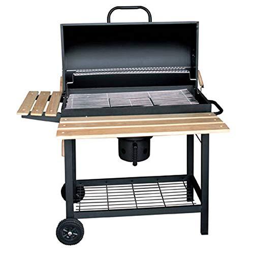 Barbecue oven Vrijstaande houtskoolgrill, draagbare rookgrill, met twee opbergplanken, buiten tuin koken 5-10 mensen verzamelen / 108X71X103cm