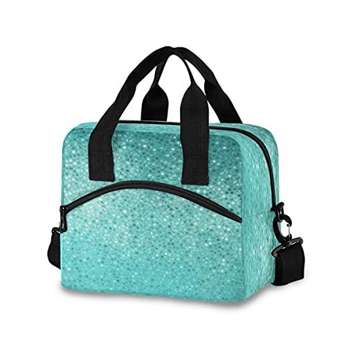 Bolsa de almuerzo aislada reutilizable lonchera enfriadora bolsas de almuerzo con lunares turquesa, resistentes al agua, para adultos y mujeres