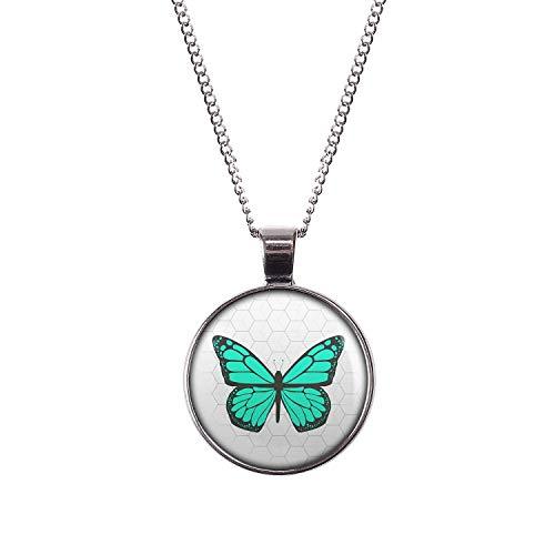 Mylery Halskette mit Motiv Schmetterling Opal Türkis silber 28mm