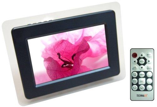Technaxx P-Vision Digitaler Bilderrahmen (17,8 cm (7 Zoll) Display, widescreen, 480x234 Pixel, USB Port, Diaschau Modus, Uhr-und Kalenderfunktion) schwarz