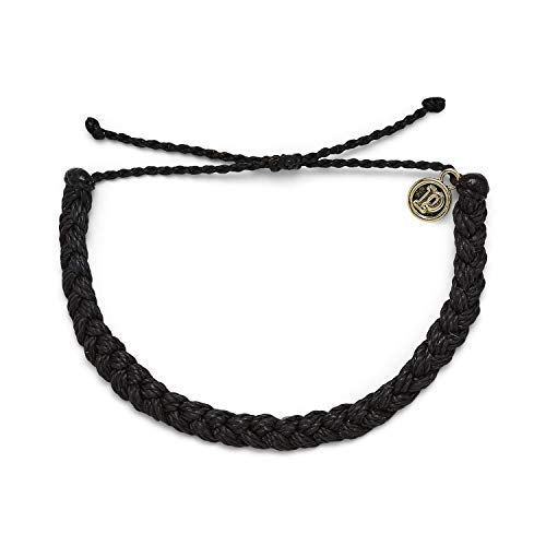 Pura Vida Black Braided Bracelet - 100% Waterproof, Adjustable Band - Brand Charm, Multicolor