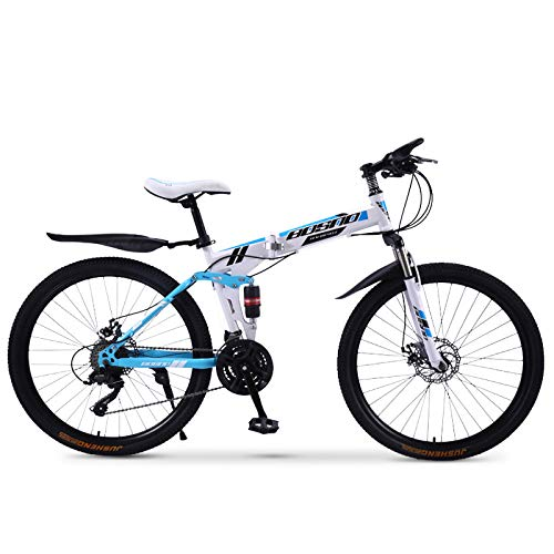 FZ-Kostum Mountain Folding Bike for Adult with 30 Speed, High Carbon Steel Frame, Foldable Compact Bicycle with Anti-Skid and Wear-Resistant Tire Lightweight MTB (24/26-Inch),C,24inch