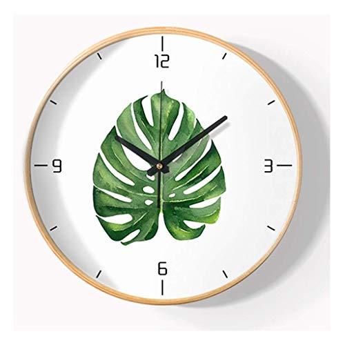 Reloj de Pared, fácil de Leer, Gran Sala de Estar Digital, Reloj de Cocina, Marco de Madera Maciza, silencioso, Relojes de Pared para Dormitorio sin tictac