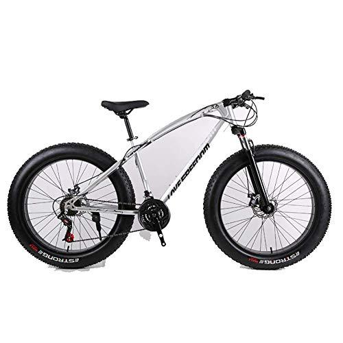 Unbekannt Mountainbike, 26-Zoll-Fat Tire Straßen-Fahrrad Schnee Bike Beach Bike High-Carbon Stahlrahmen, mit Scheibenbremsen und Federgabeln,Silber,21Speed