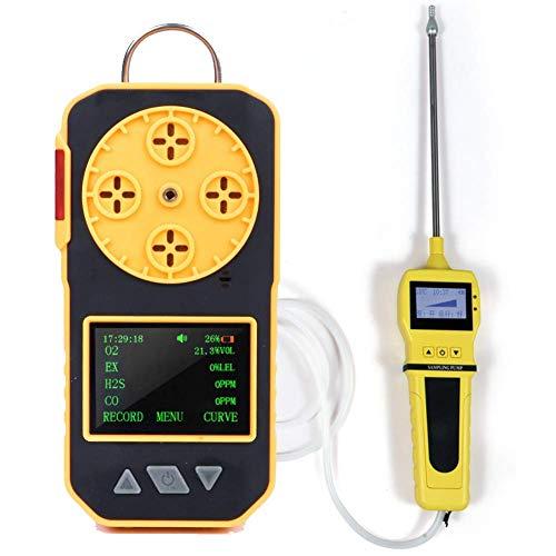WCY 4 in 1-Gas-Detektor, O2 / CO2 / H2S und EX Brennbare Gas Analyzer-Monitor for toxische Gase und schädlicher Gas-Lecksucher mit Pumpe yqaae