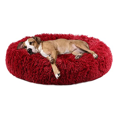 Annety Cama Perros Redonda cojín Gatos sofá para Perros Donut (Large, Vino Tinto)