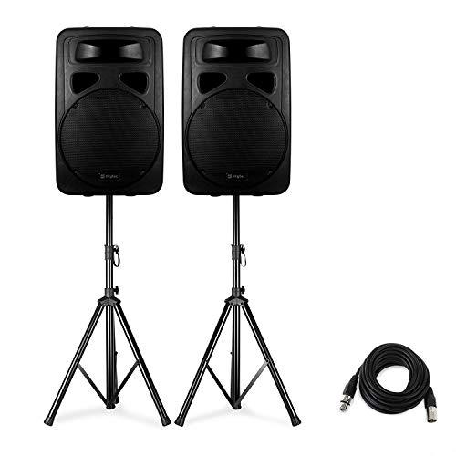 Skytec SP1500A Aktivboxen-Set - mit 2 Boxen, 2 Skytec Lautsprecher-Stativen und einem FrontStage XLR-Kabel 6 m, Boxen mit aktivem 2-Wege-System, Lautsprecherständer klappbar, Tragetasche, schwarz