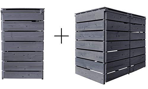 Fairpreis-design Mülltonnenbox Mülltonnenverkleidung 3 Tonnen Holz 120L - 240L anthrazit inkl. Rückwand vorimprägniert vormontiert Müllcontainer Mülltonne Mod.A