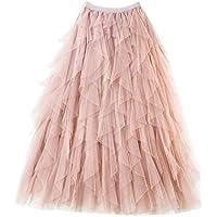 Falda Larga De Tul Fiesta De Tutú para Mujer Plisadas Faldas Cintura Elástica Pink Un tamaño