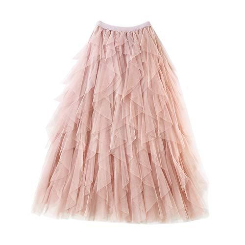 Falda Larga De Tul Fiesta De Tutú para Mujer Plisadas Faldas Cintura Elástica