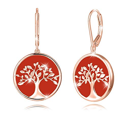 Agvana Tree of Life Earrings Rose Gold Plated Sterling Silver Genuine Natural Red Onyx Family Tree Leverback Dangle Drop Earrings Birthday Anniversary Jewelry Valentines Day Gifts for Women Girls Mom Her