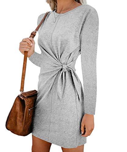 Turnglam Pullover Kleid Damen Oberteil Lang Sweatshirt Oversized Einfarbig Casual Lose Herbst Kleid Pullikleid Strickpullover Sweatkleid Tops  (EU(36-38)/Herstellergröße: M, Grau)
