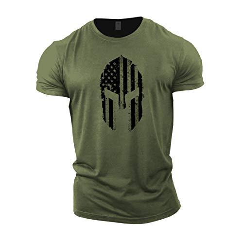 GYMTIER Herren Bodybuilding-T-Shirt – Spartanische USA-Flagge – Gym Training Top Gr. XXL, grün