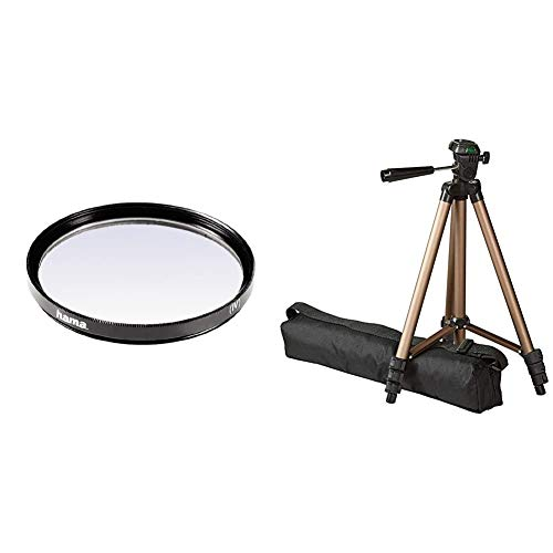 Hama 070055 - Filtro Ultravioleta, Color Neutro, 55 mm + Amazon Basics - Trípode Ligero para fotografía (127cm)