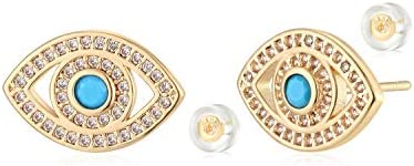 MYEARS Women Evil Eye Earrings Gold Stud Turquoise Diamond CZ 14K Gold Filled Small Boho Beach product image