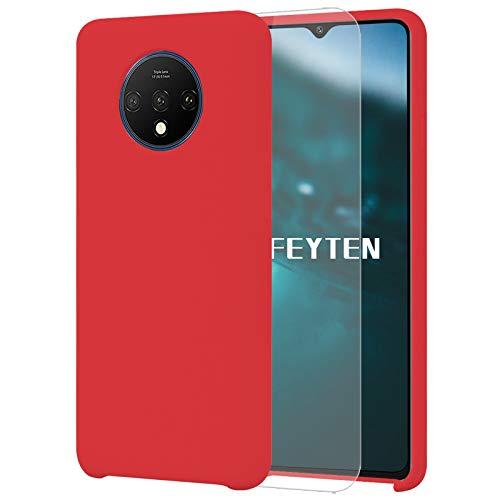 Feyten Cover Compatibile con OnePlus 7T [con Vetro Temperato], Custodia Gomma Gel Silicio Liquido...