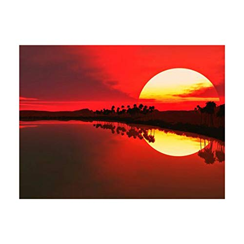 Fesjoy Diamond Painting Kit,DIY 5D Diamond Painting Kit Sunset Lake Full Drill Diamond Painting Embroidery Cross Stitch Picture Arts Craft Gift for Living Room Home Wall Decor, 15.7 * 11.8in