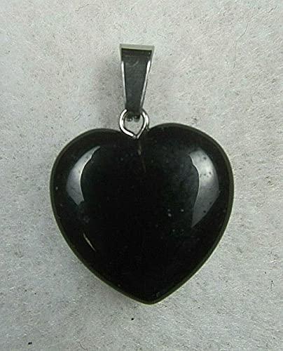 Quarter Joyería Colgante de Piedra Pulida Tallada Natural de la Plata del corazón de obsidiana Negra