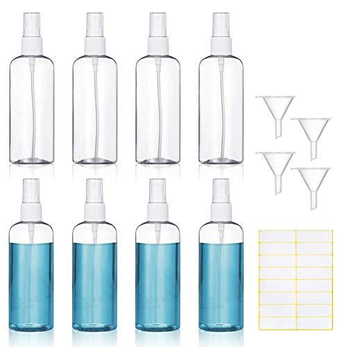 8 Stück Sprühflasche,KIPIDA 100ml Transparente Zerstäuber,Sprayflasche leer Nachfüllbar Feinen Nebel parfümzerstäuber,Plastik Leer Sprühflasche Reise Flaschen Set mit 4 Trichter und 1 Etikett