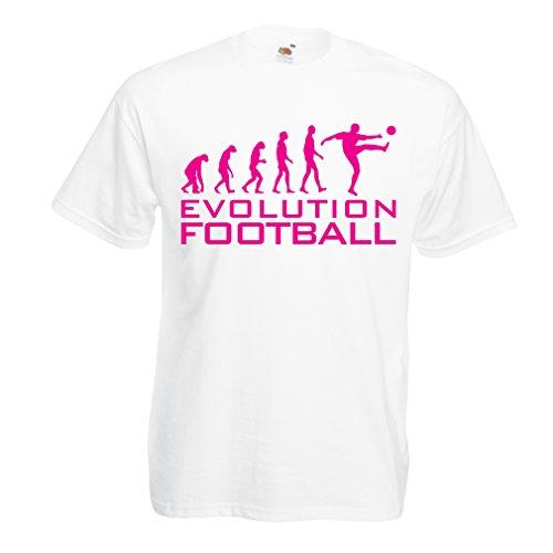 lepni.me Camisetas Hombre La evolución del fútbol - Camiseta de fanático del Equipo de fútbol de la Copa Mundial (Large Blanco Magenta)