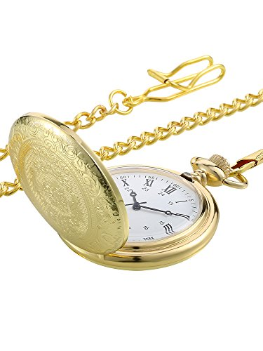 Vintage Taschenuhr Gold Stahl Herren Uhr mit Kette für Väter Tag
