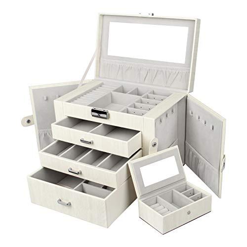 Yorbay Sieradenkistje, afsluitbaar met spiegel, 3 laden en uitneembare minibox, Seelux serie sieradendoos voor halskettingen, polshorloges, ringen, armbanden, oorbellen, wit