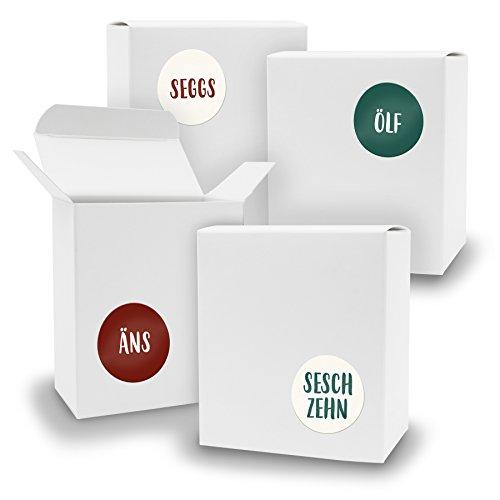 DIY itenga Adventskalender Set V07 zum Selberbefüllen 24x Schachtel in Quader-Form WEISS + ZahlenSticker (Motiv Z27 Saarländisch)