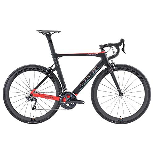 SAVADECK HERD6.0 700C Bicicleta de Carretera de Fibra de Carbono Shimano 105 R7000 22S Sistema de transmisión Michelin Neumático Fizi:k Sillín (BR-New, 54cm)