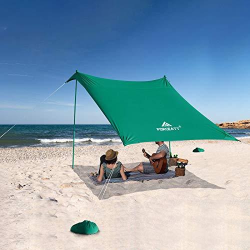 Forceatt Tienda de Playa con Sun Shelter,Tienda de Playa Pop up con Protección UV UPF50 y 2 Piezas Postes de Aluminio, Refugio al Aire Libre para Tiempo en La Playa, Camping o Picnic(2.1 Mx2.1 M).