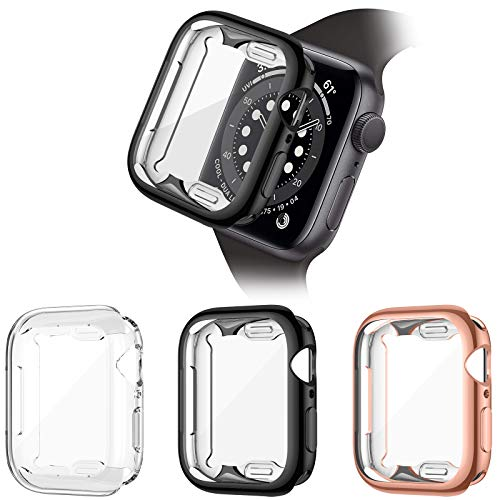 HAPAW 3 Pack Screen Protector Compatible with Apple Watch SE/Series 6/Series 5/Series 4 40mm, Soft TPU Full Coverage Protective Case Cover Compatible with iWatch Series SE/6/5/4