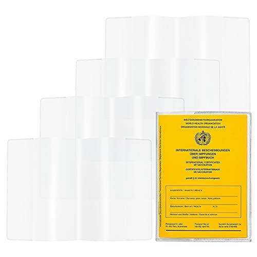 Copri Passaporto Vaccini Internazionali, 4 porta cartePortatessere Trasparente PVC, Usato per Titolare Carta D'Identità Titolare Licenza Porta Carte Credito in Plastica(95 Mm X 135 Mm)