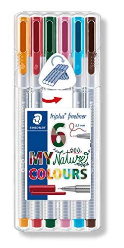 Staedtler Triplus Fineliner 334 SB6CS2 Desktop Box - Assorted Nature Colours (Pack of 6)