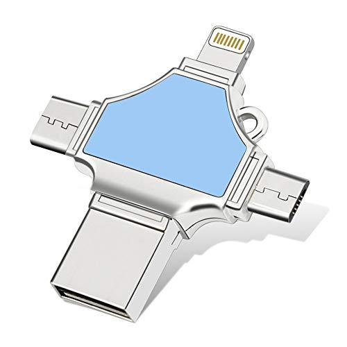 JAY-LONG USB 3.0 U Festplatte, Typ C/Micro/Lightning/USB 4-In-1-OTG-Flash-Laufwerk, Speicheradapter 16/32/64/128 GB Für iPhone Typ C Android-Geräte Und -Computer,16GB