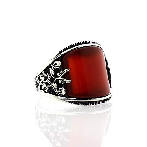 IWINO 925 zilveren herenring met rode zirkonia steen
