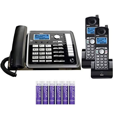 RCA 25255RE2 (25055RE1, 25254) 2-Line Phone System with Digital Answering System - Corded Speakerphone and Wireless Handset Bundle with 25055RE1 DECT 6.0 Cordless Handset, and Blucoil 6 AAA Batteries