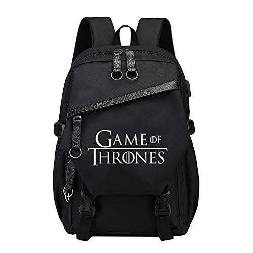 Game of Thrones Daypacks Koreanische Version Rucksack wasserdicht Campus School Daypack Outdoor Reise Rucksack für Männer Unisex (Color : Black03, Size : 30 X 17 X 41cm)