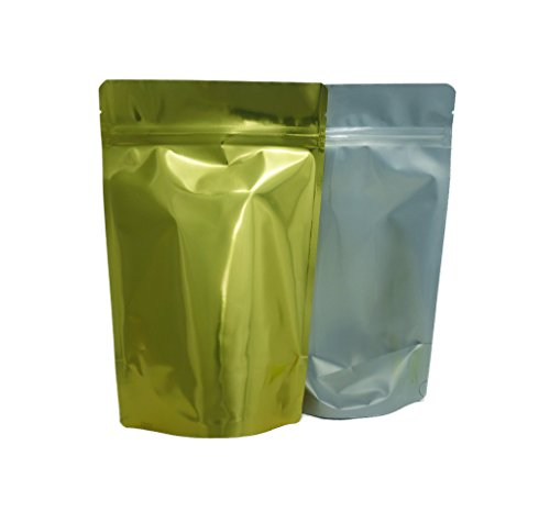 Best Buy! 16 oz. Clear Poly/Gold Foil Stand Up Zip Pouch (Coffee Packaging, Tea Packaging, Jerky Pac...