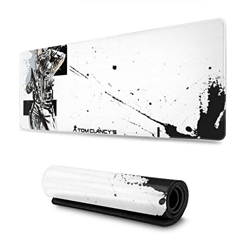FPSMOUPD Mouse Pad Gaming Large IQ-Rainbow Six Siege Extended Mouse Pad with Stitched Edges Non-Slip Rubber Base 31.5' x 11.8' x 0.12'